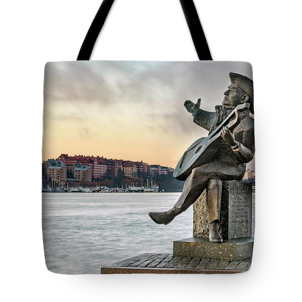 Gamla Stan Tote Bag featuring the photograph Evert Taube - Stockholm by Joana Kruse