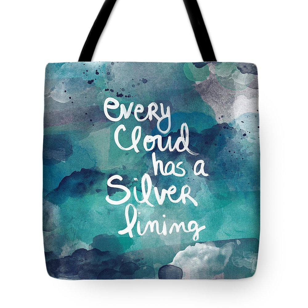 Cloud Tote Bag featuring the painting Every Cloud by Linda Woods