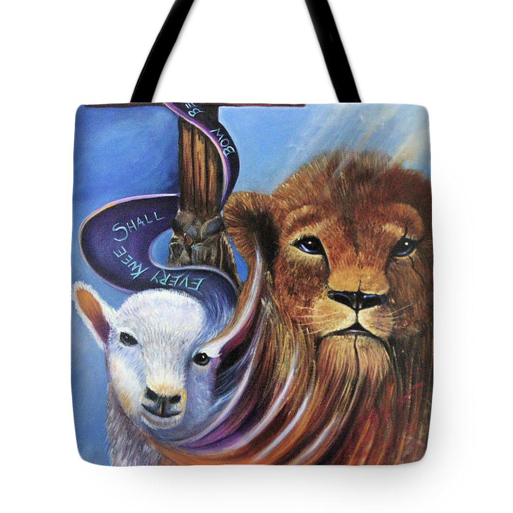 Lion Tote Bag featuring the painting Every Knee Shall Bow by Sue Stake