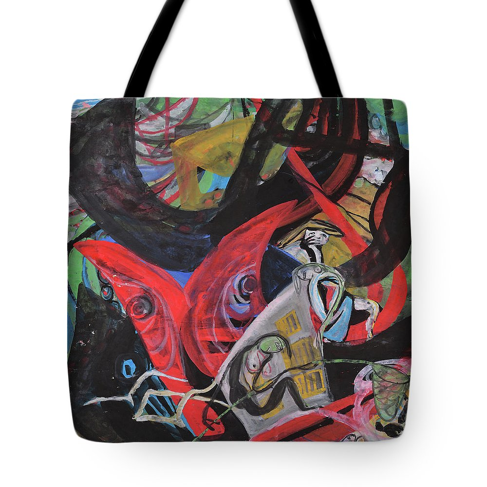 Finshing Tote Bag featuring the painting Everyone Is In His Own World by Chinaart Find
