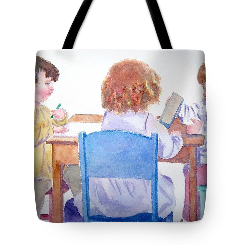 Girls Tote Bag featuring the painting Evie And Friends by Marsha Elliott