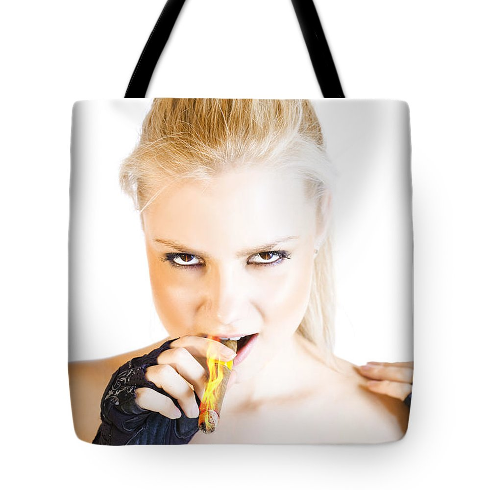 Aggressive Tote Bag featuring the photograph Evil Blonde Demon by Jorgo Photography - Wall Art Gallery