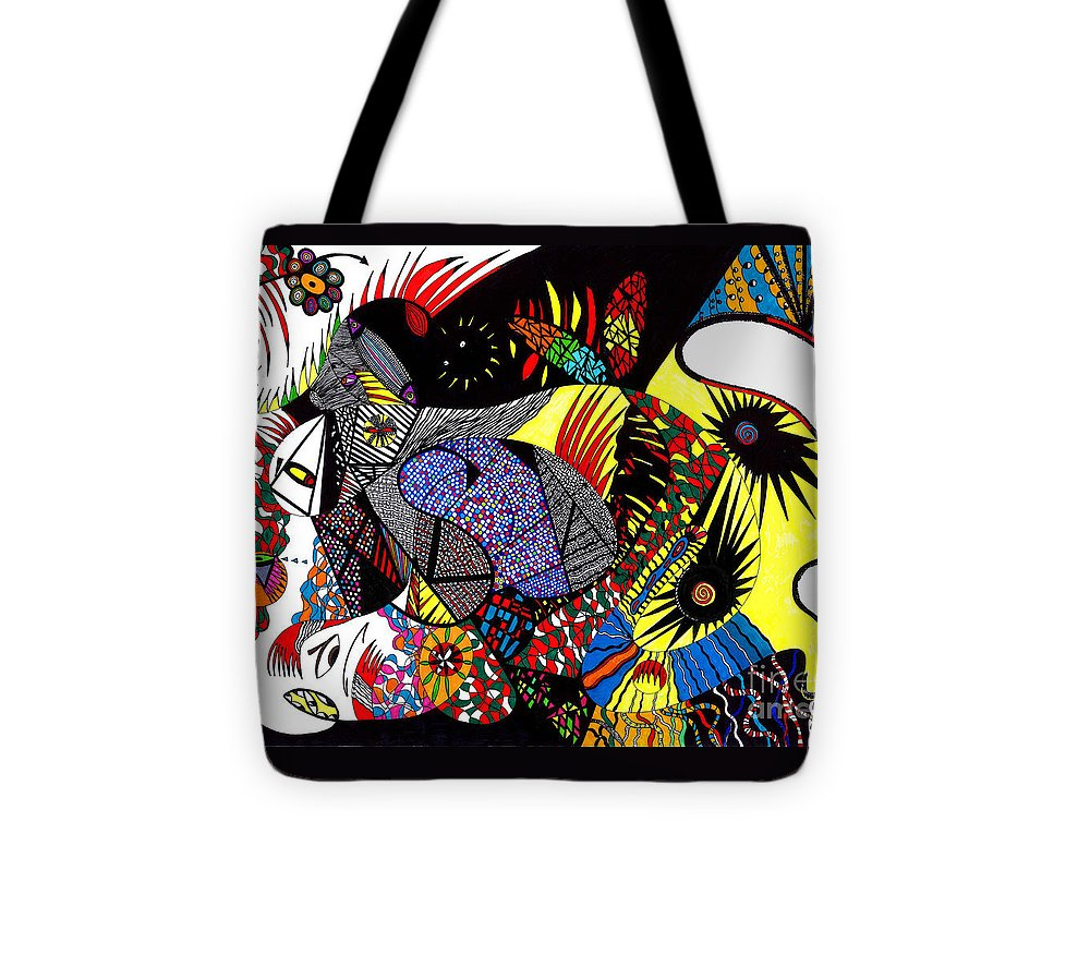 Psychedelic Tote Bag featuring the painting Evil Born by Safak Tulga