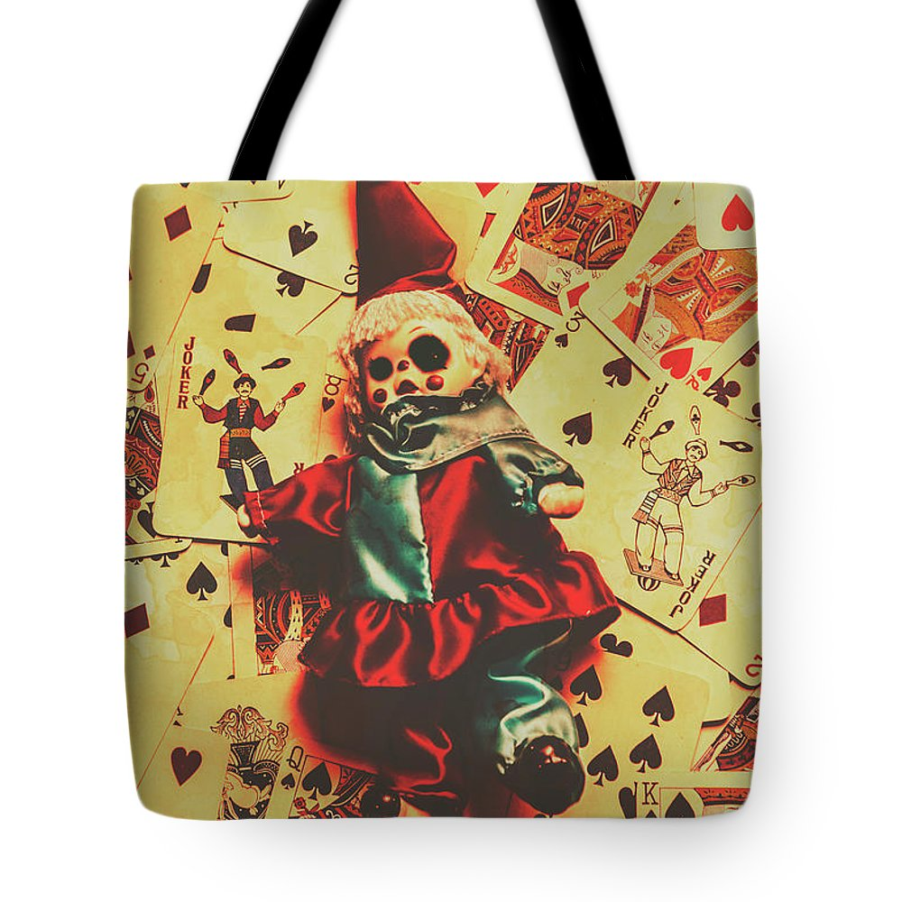 Evil Clown Doll On Playing Cards Tote Bag for Sale by Jorgo ...
