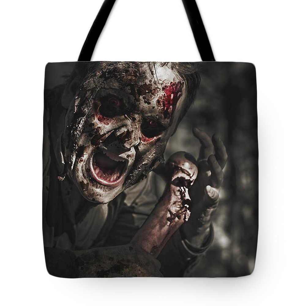 Scary Tote Bag featuring the photograph Evil Male Zombie Screaming Out In Bloody Fear by Jorgo Photography - Wall Art Gallery