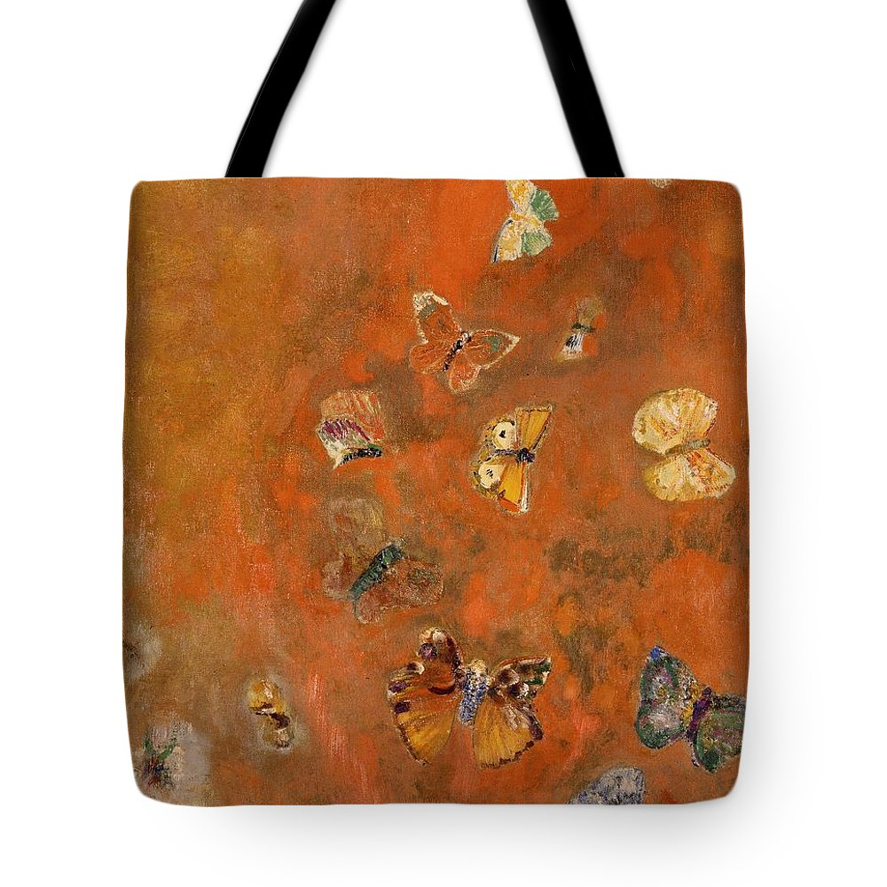 Evocation Tote Bag featuring the painting Evocation of Butterflies by Odilon Redon