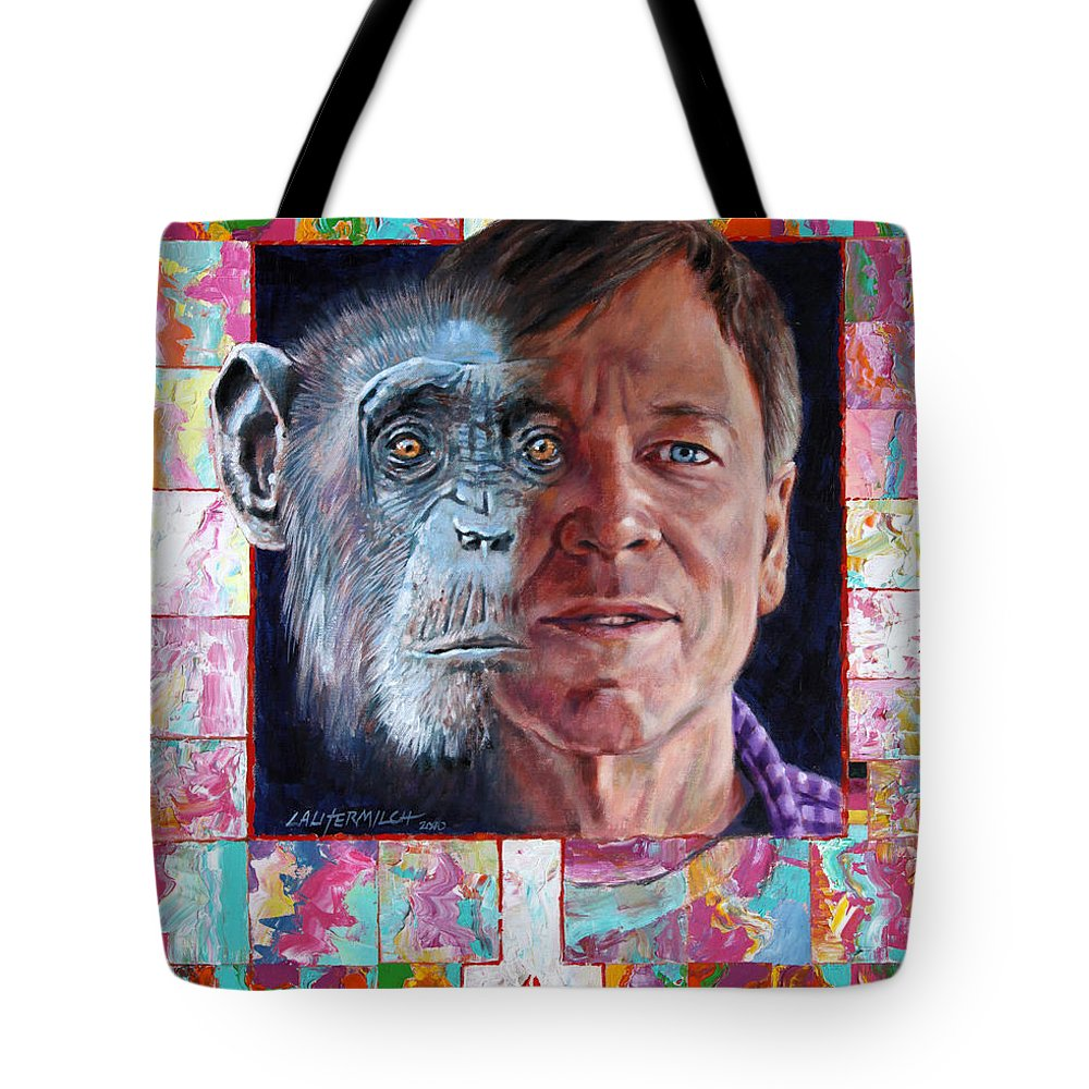 Portrait Tote Bag featuring the painting Evolution Of The Self Portrait by John Lautermilch