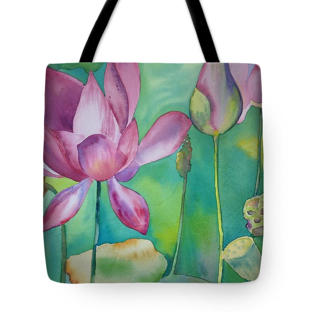 Watercolor Tote Bag featuring the painting Evolving by Bonny Lundy