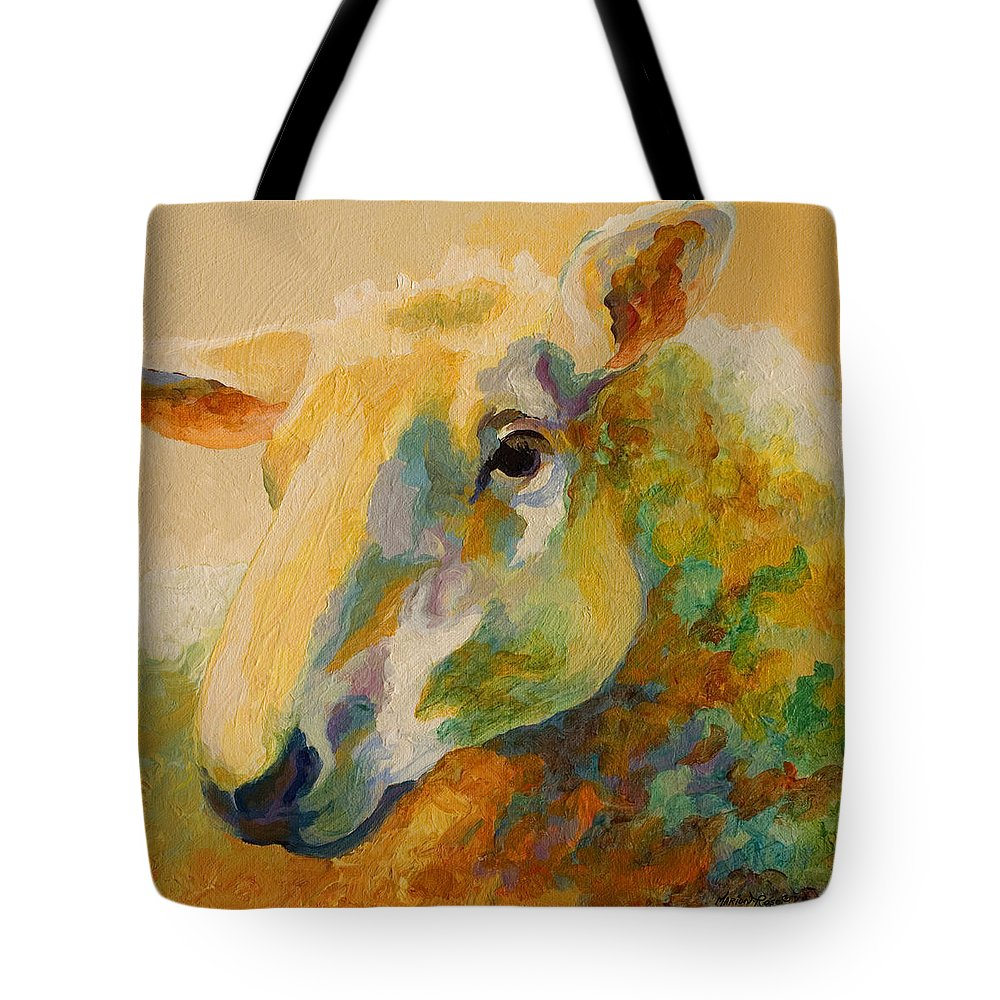 Llama Tote Bag featuring the painting Ewe Portrait IIi by Marion Rose