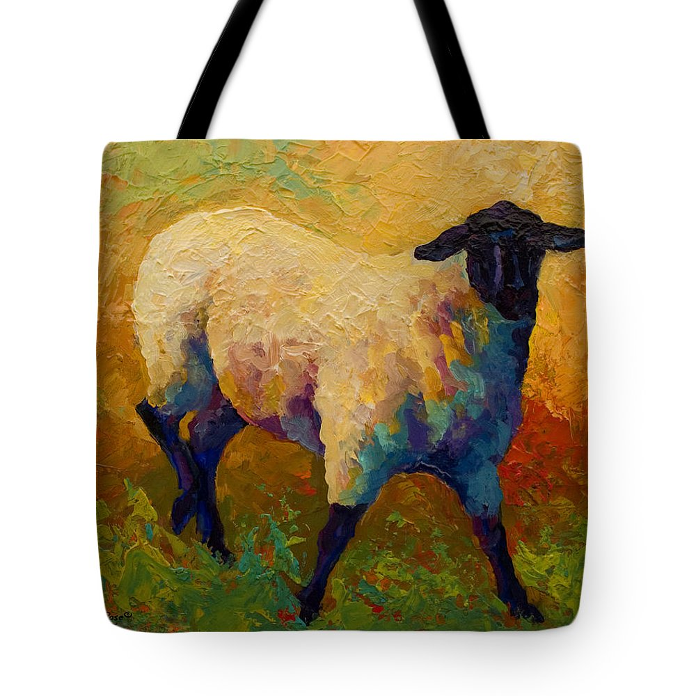 Sheep Tote Bag featuring the painting Ewe Portrait Iv by Marion Rose