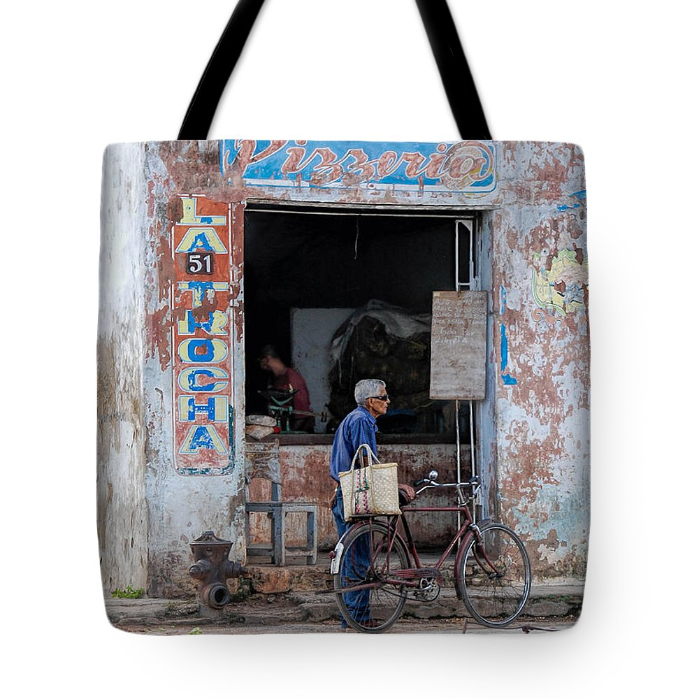 Camaguey; Cuba; Havanna; Habana; Kuba; Pizzeria Tote Bag featuring the photograph Ex-pizzeria In Camaguey by Marie Schleich