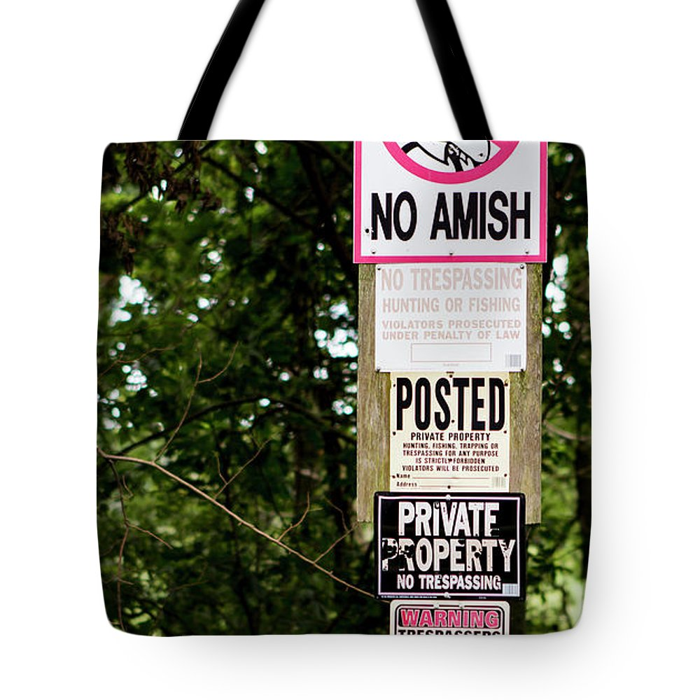 Sign Tote Bag featuring the photograph Excessive Property Signs by By Way of Karma