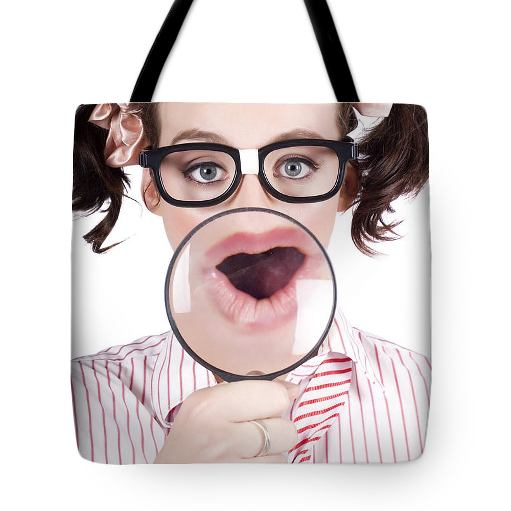 Adolescence Tote Bag featuring the photograph Excited Nerd Girl With A Big Idea by Jorgo Photography - Wall Art Gallery
