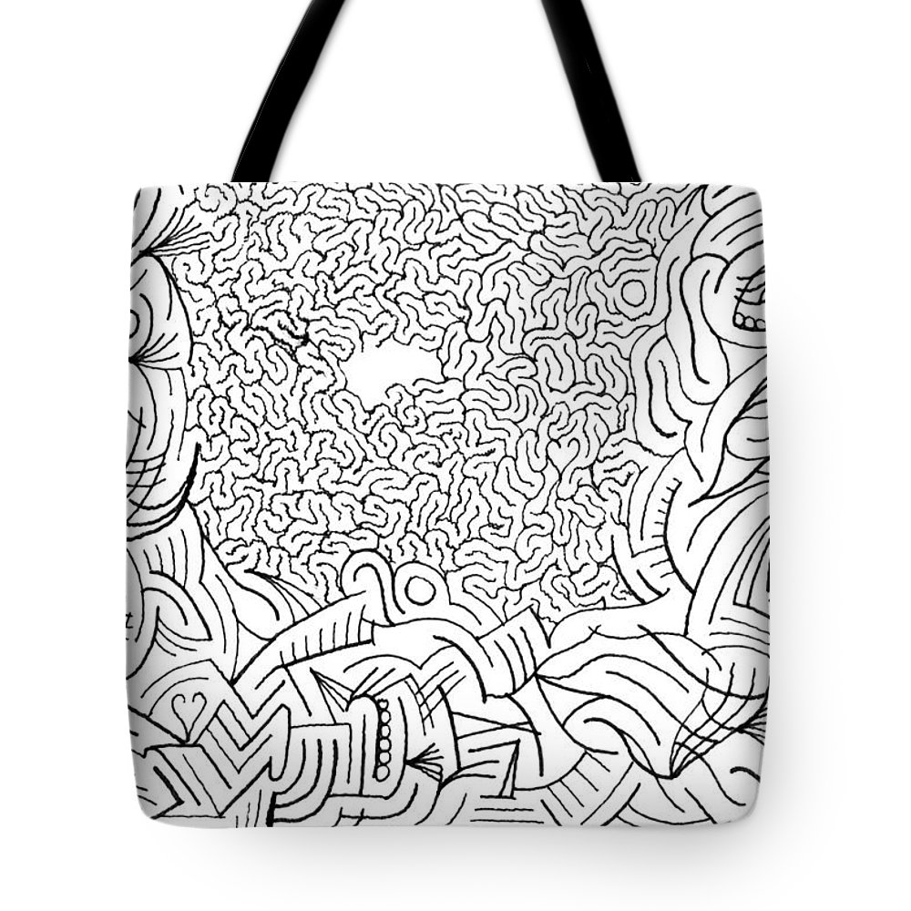 Mazes Tote Bag featuring the drawing Excogitate by Steven Natanson