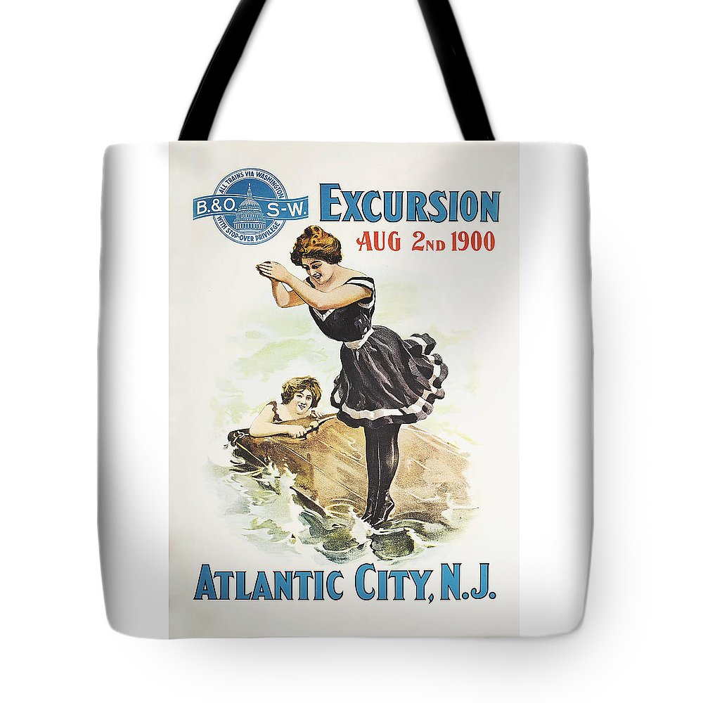 Atlantic City Tote Bag featuring the drawing Excursion To Atlantic City New Jersey by The Baltimore and Ohio Railroad