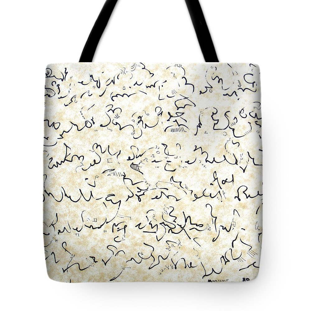 Calligraphy Tote Bag featuring the drawing Executive Summary With Notes by Dave Martsolf