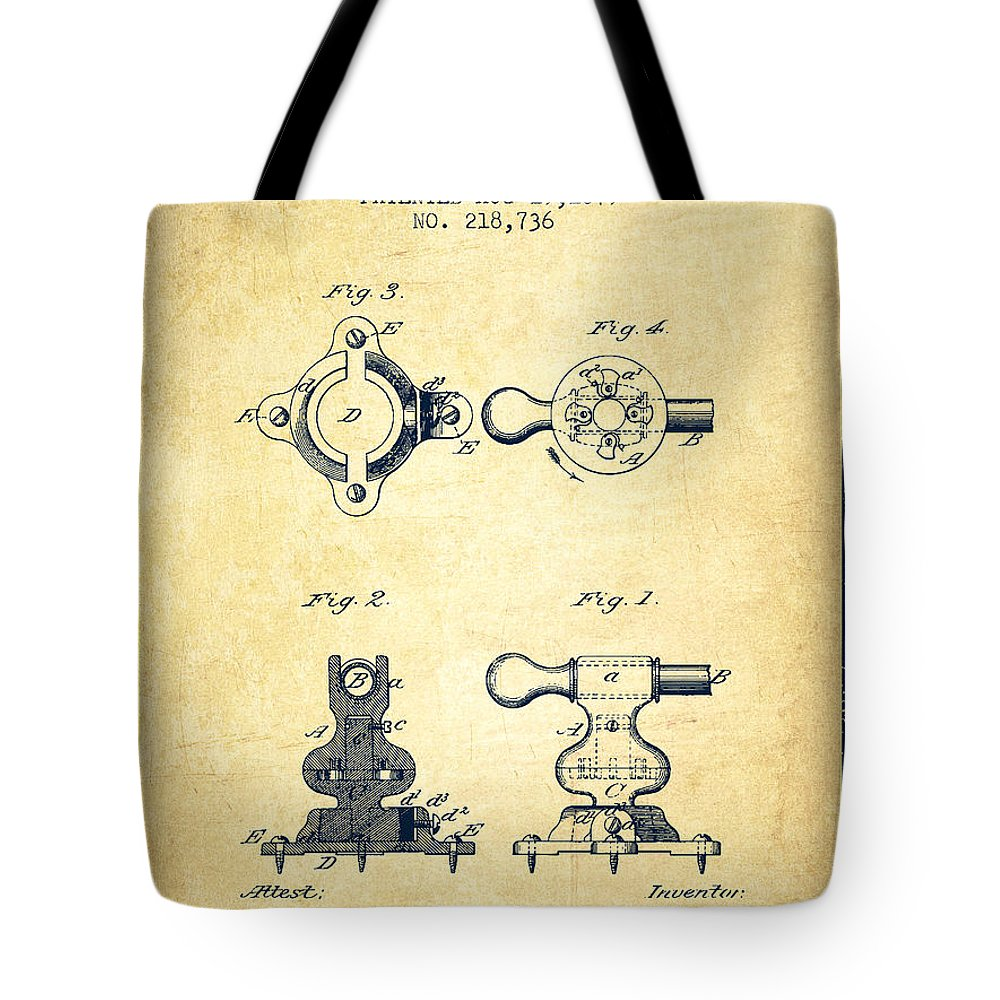 Exercise Tote Bag featuring the digital art Exercise Machine Patent From 1879 - Vintage by Aged Pixel