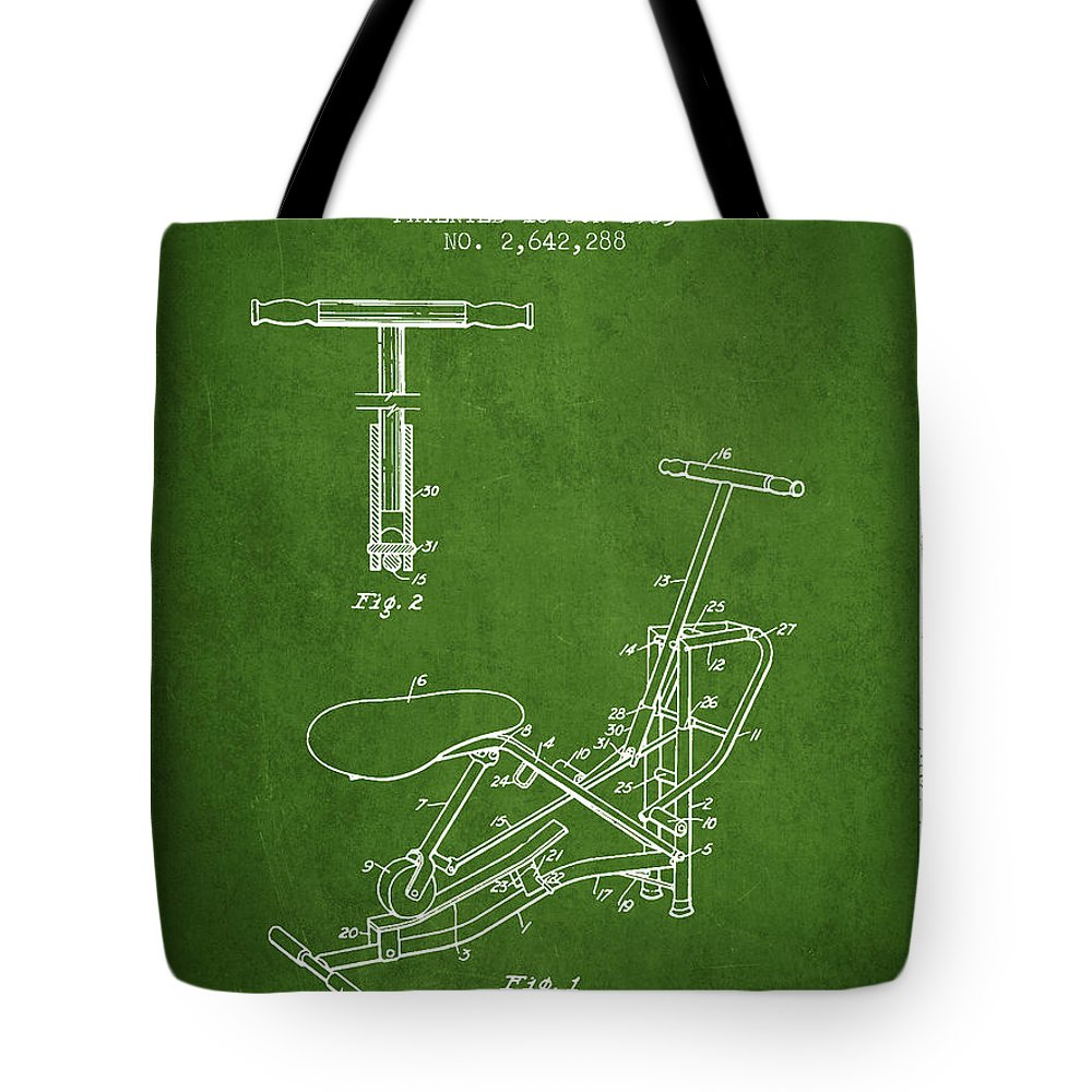 Exercise Tote Bag featuring the digital art Exercise Machine Patent From 1953 - Green by Aged Pixel