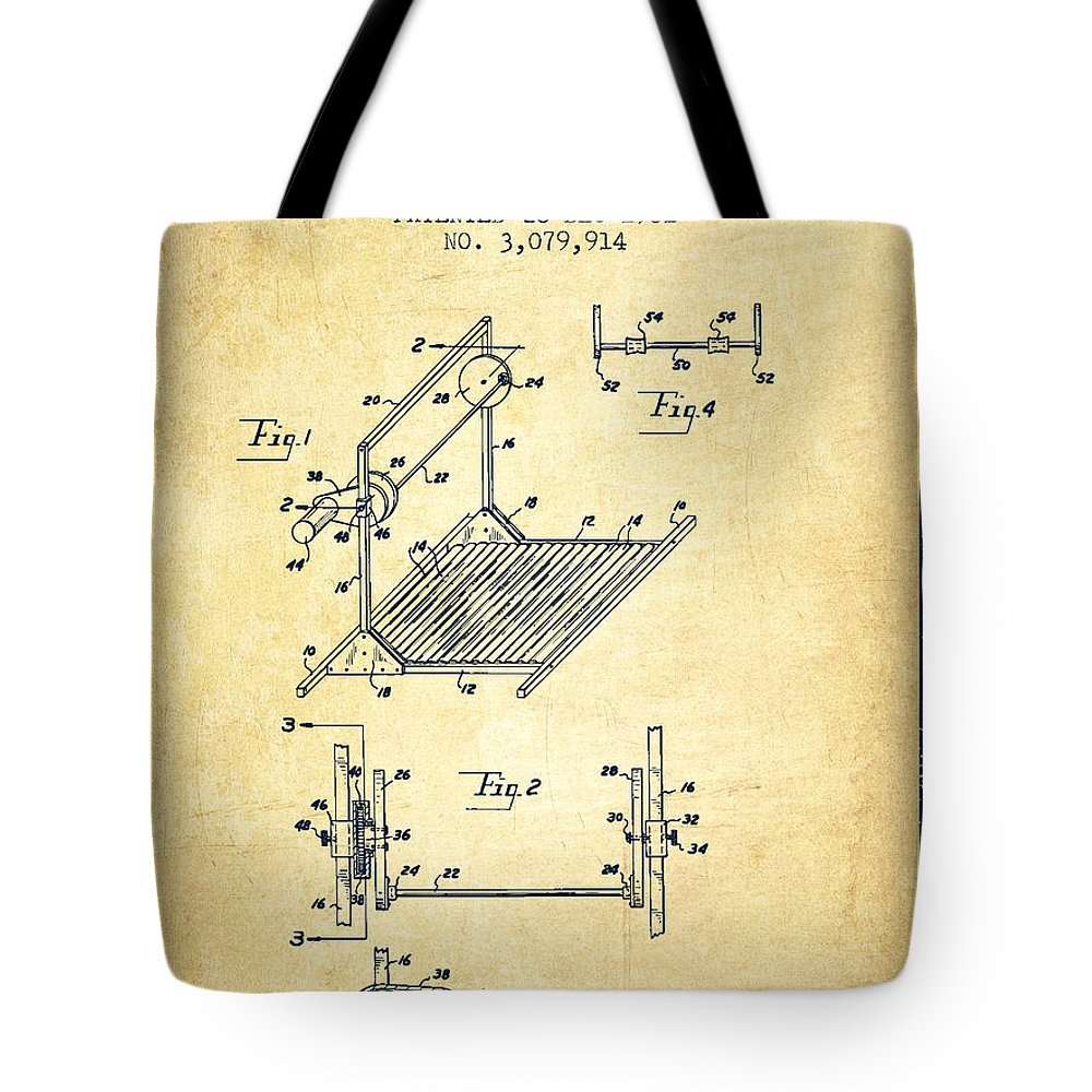 Exercise Tote Bag featuring the digital art Exercise Machine Patent From 1961 - Vintage by Aged Pixel