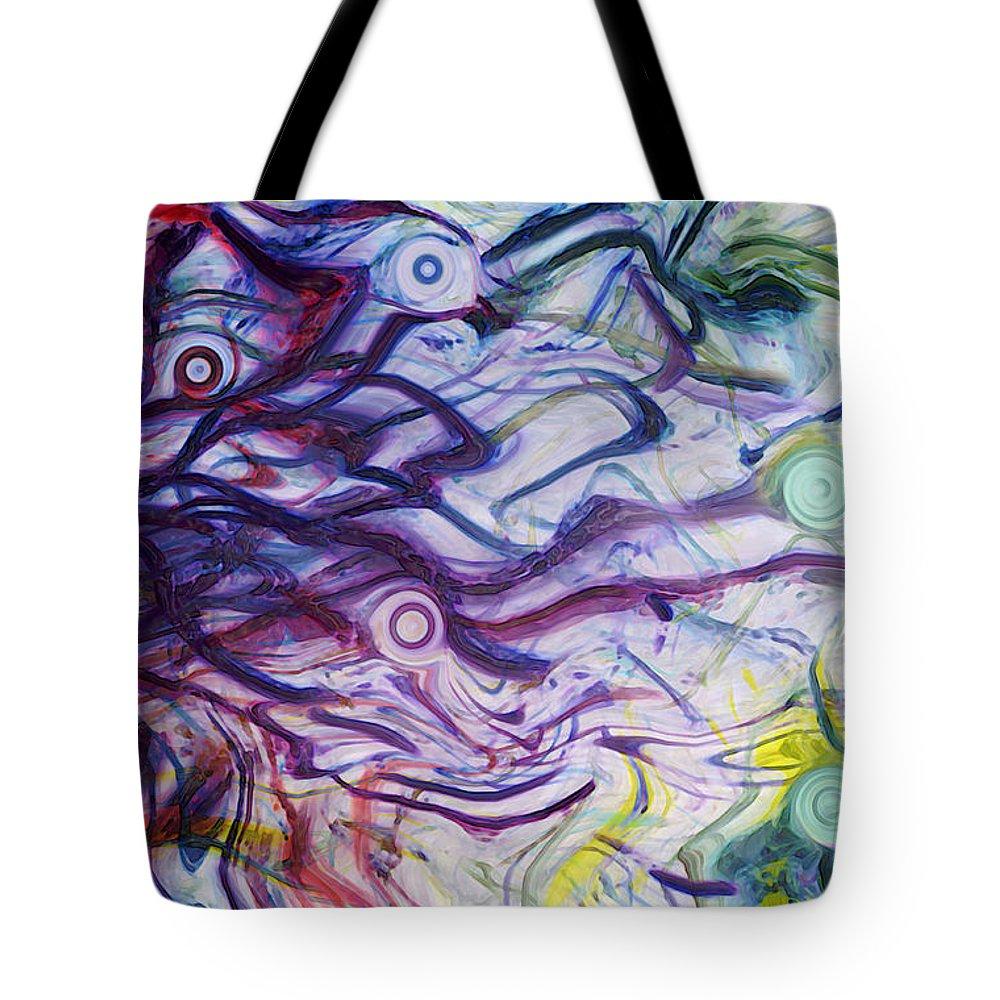Energy Art Movement Tote Bag featuring the digital art Exhalation by Linda Sannuti