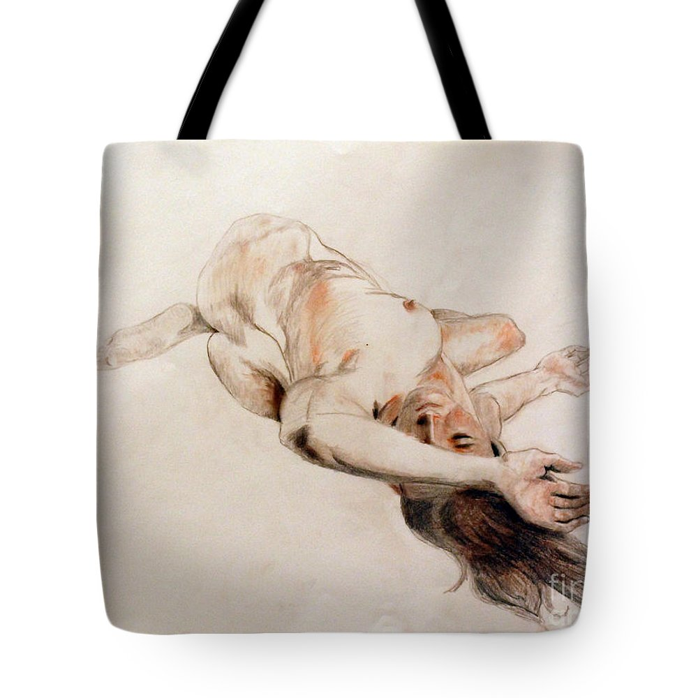 Figure Tote Bag featuring the drawing Exhausted by Lori Moon