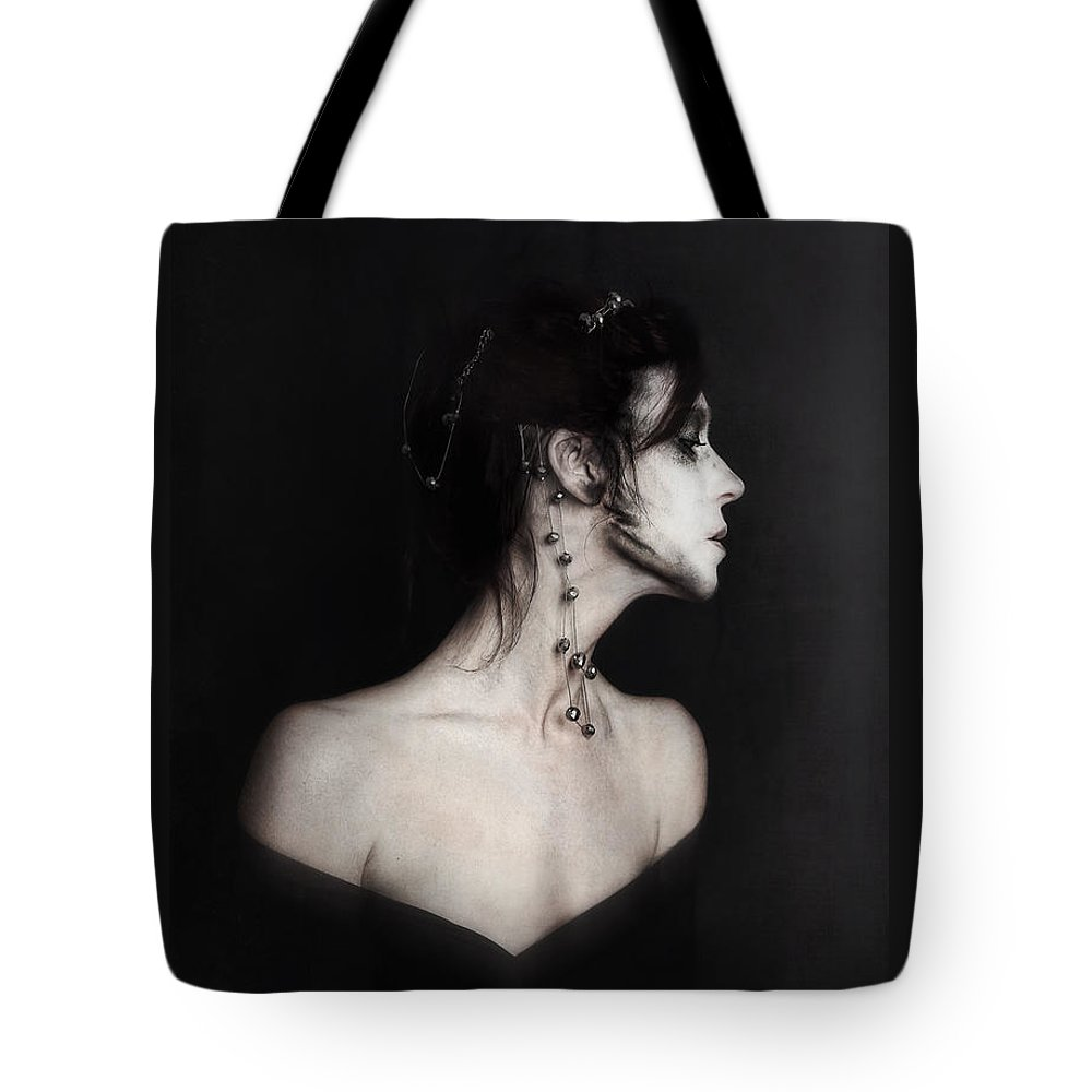Monochrome Tote Bag featuring the photograph Exile by Spokenin RED