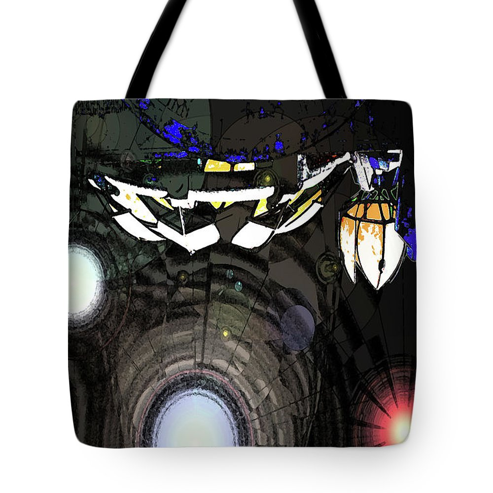 Abstract Tote Bag featuring the digital art Exiting The Mother Ship by DigiArt Diaries by Vicky B Fuller
