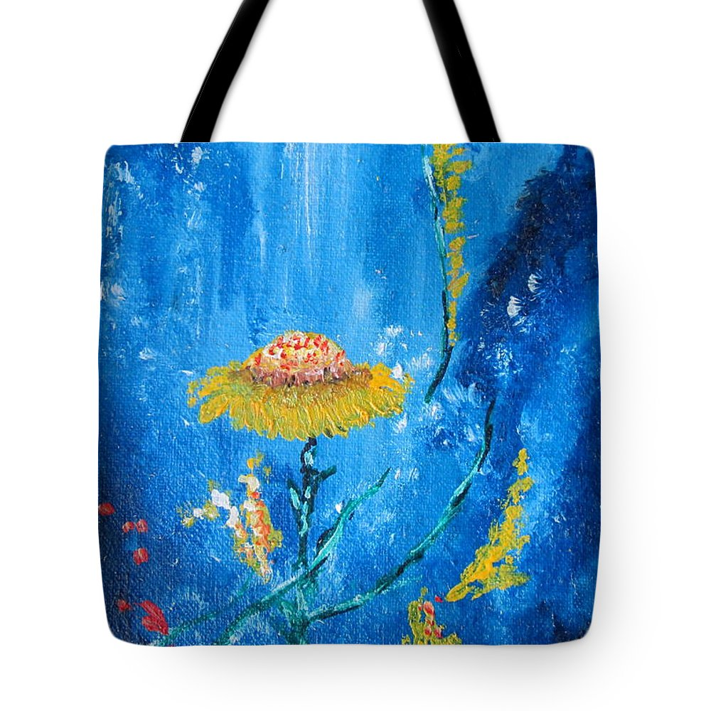 Art Tote Bag featuring the painting Exotic Colorful Flowers Abstract Composition by Ambasador