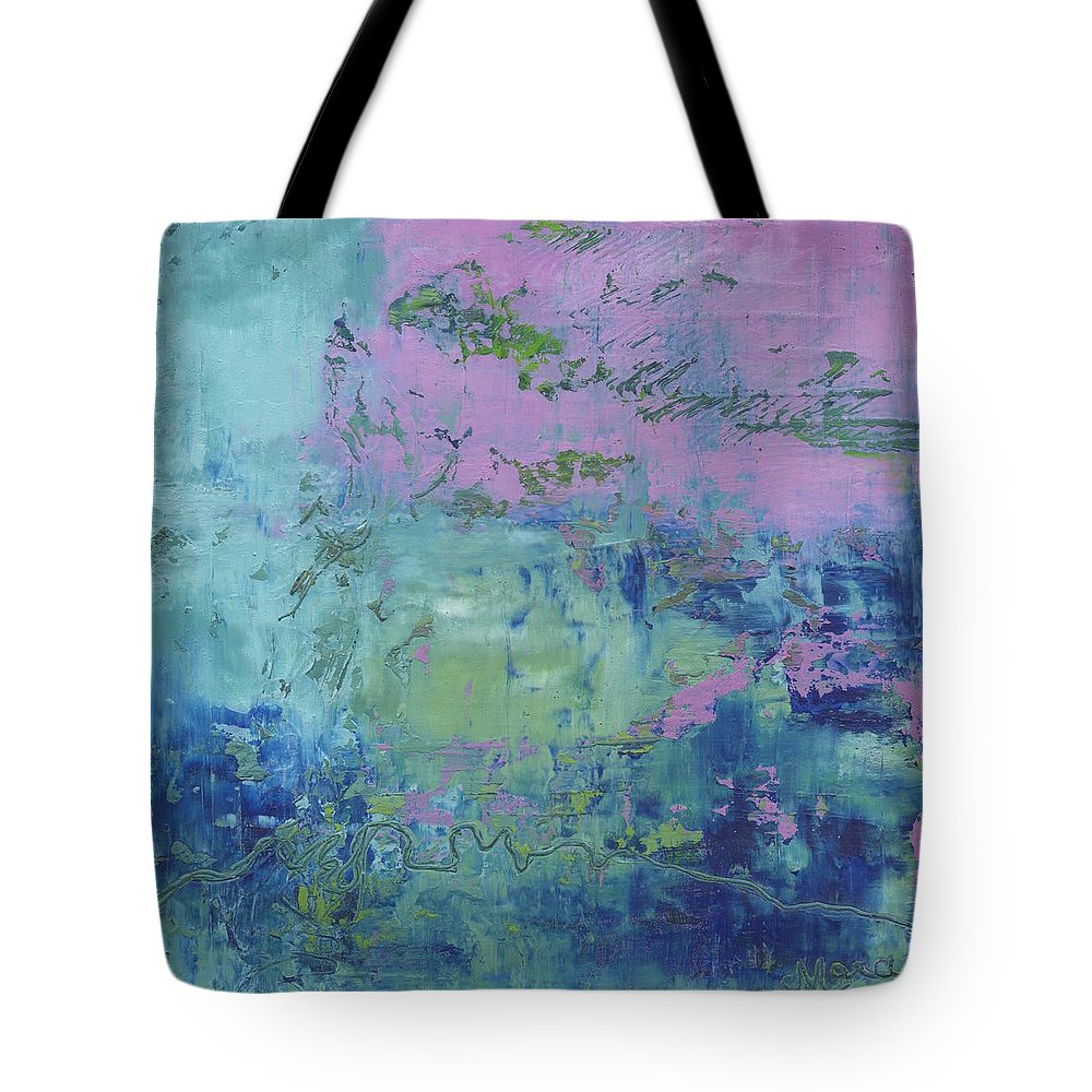 Abstract Tote Bag featuring the painting Exotic by Marcy Brennan