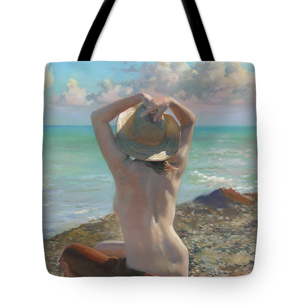 Girl Tote Bag featuring the painting Expectation Mmxi by Denis Chernov