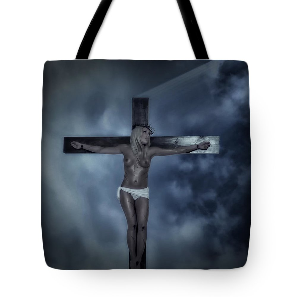 Experimental Tote Bag featuring the digital art Experimental Crucifix In The Light by Ramon Martinez