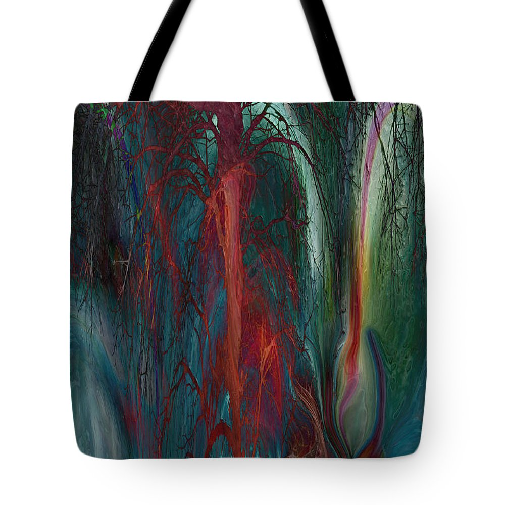 Abstracts Tote Bag featuring the digital art Experimental Tree by Linda Sannuti