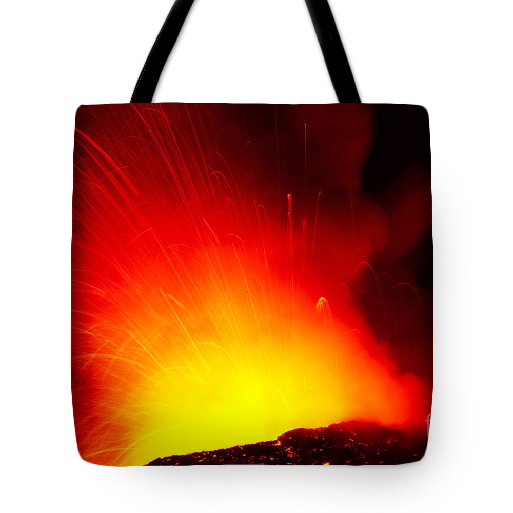 Active Tote Bag featuring the photograph Exploding Lava At Night by Peter French - Printscapes