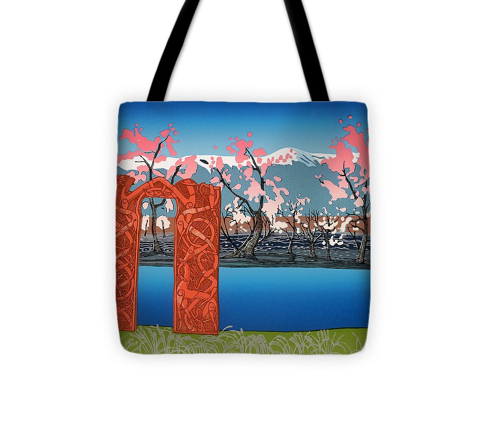 Landscape Tote Bag featuring the mixed media Exploration. by Jarle Rosseland