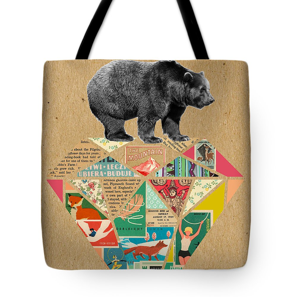 Explore Tote Bag featuring the mixed media Explore Bear by Claudia Schoen