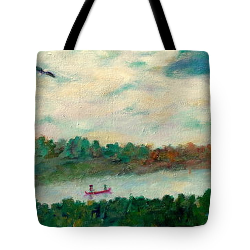 Canoeing On The Big Canadian Lakes Tote Bag featuring the painting Exploring Our Lake by Naomi Gerrard
