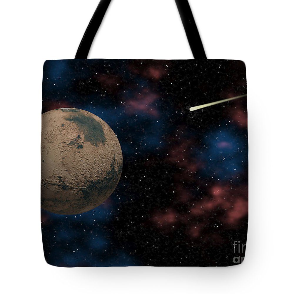 Digital Art Tote Bag featuring the digital art Exploring Planet Mars by Phil Perkins
