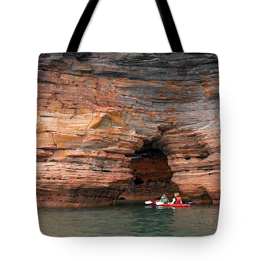 Sea Cave Tote Bag featuring the photograph Exploring The Sea Caves by Larry Ricker