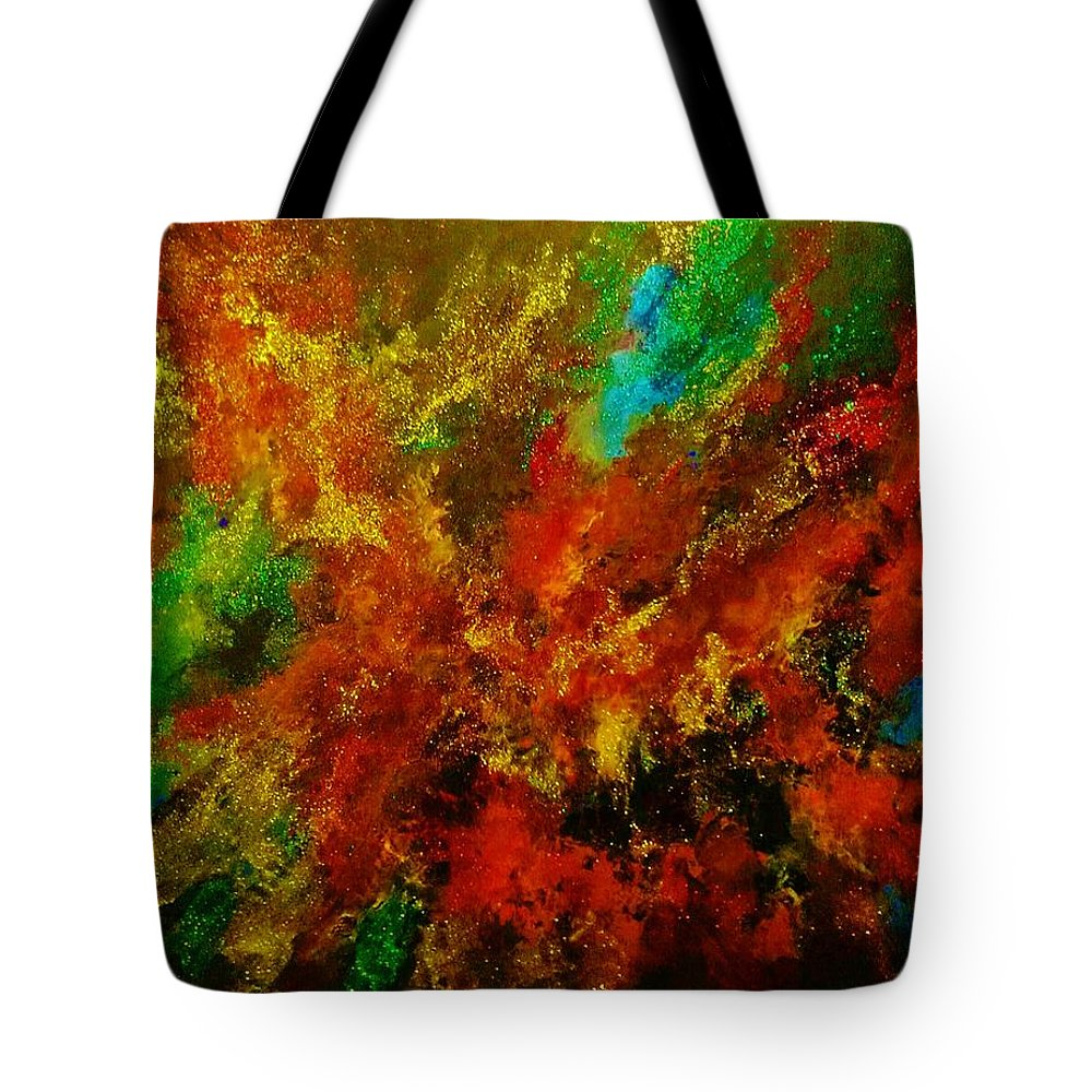 Acrylic Tote Bag featuring the painting Explosion Of Colour by John Cocoris