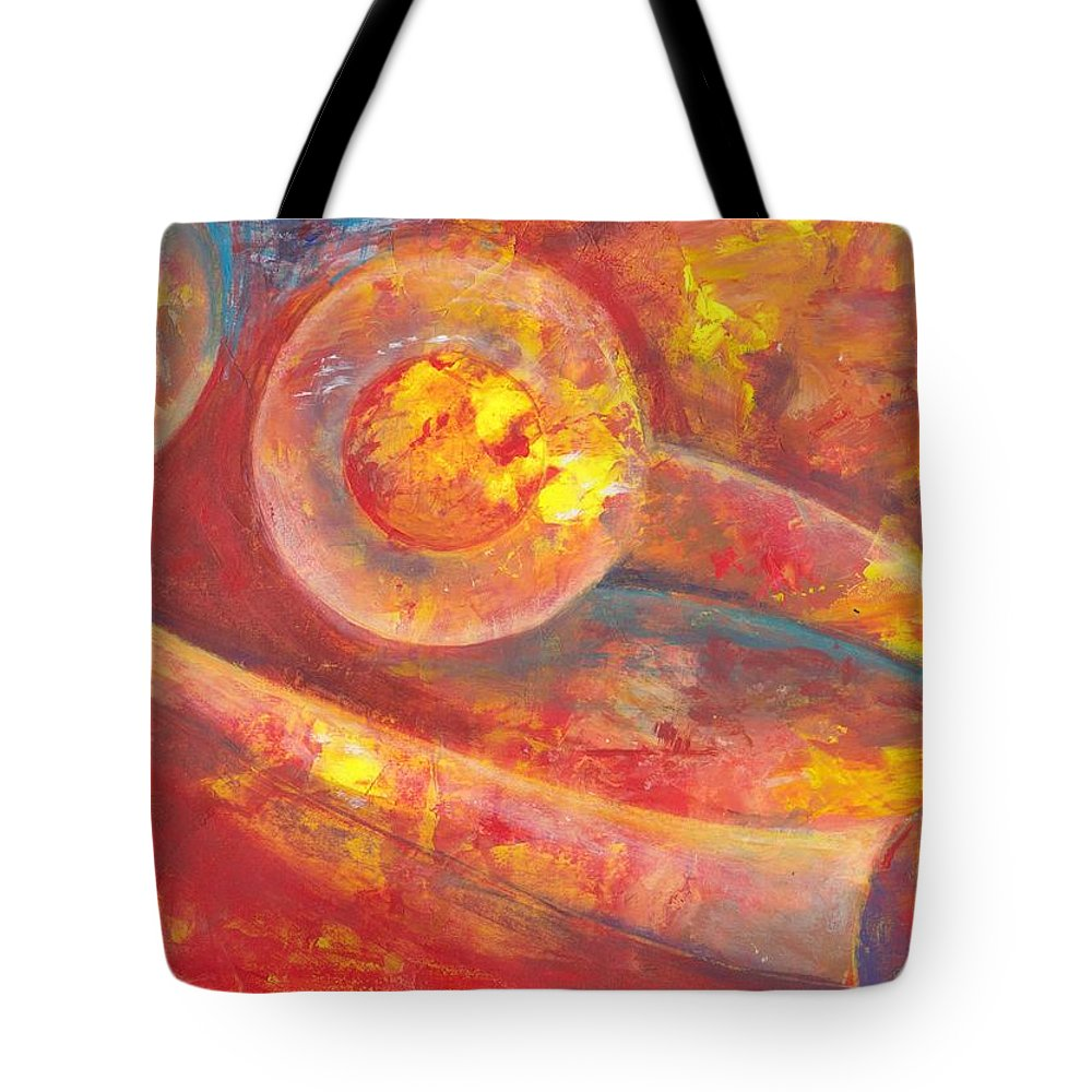 Abstract Watercolor Tote Bag featuring the painting Explosion Solar by Ivonne Sequera