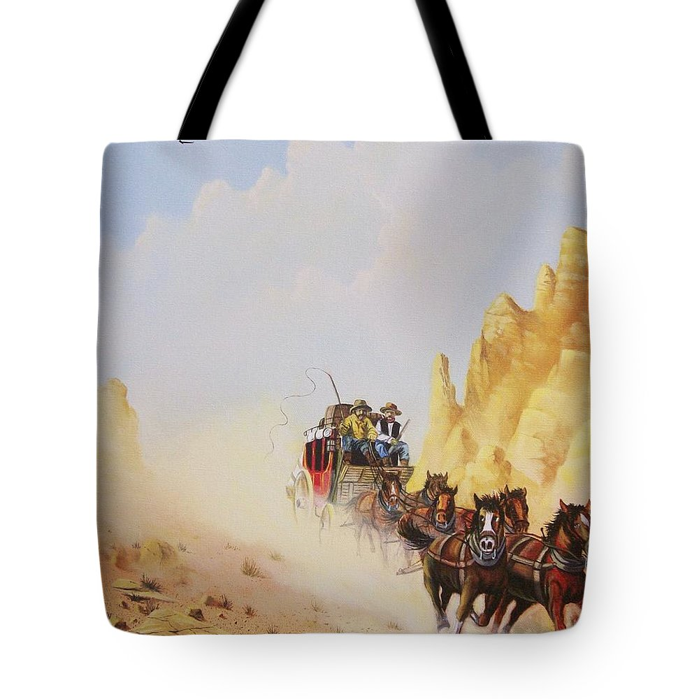 Western Tote Bag featuring the painting Express Run by Don Griffiths