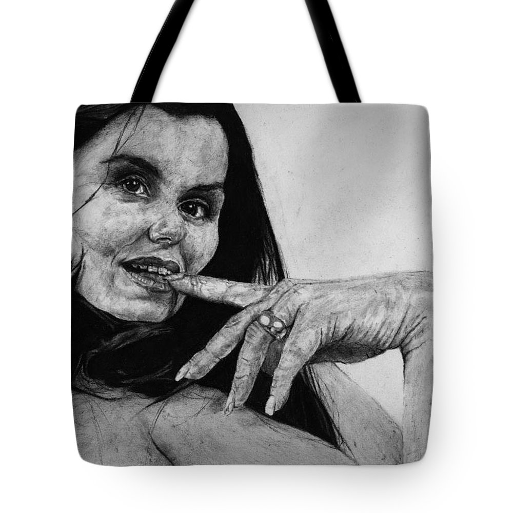 Expression Woman Charcoal Life Naked Beautiful Female Grayscale Flower Lady Beautiful Tote Bag featuring the drawing Entice by Priscilla Vogelbacher