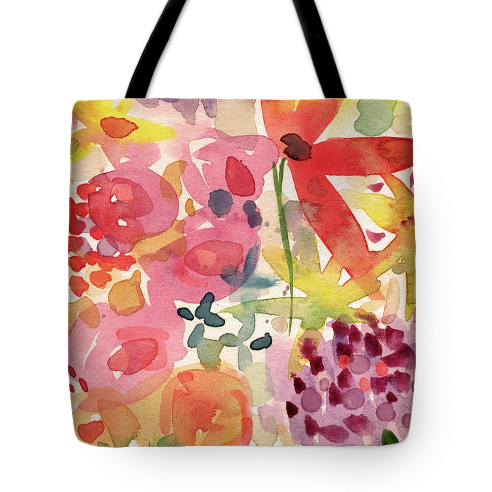 Flowers Tote Bag featuring the mixed media Expressionist Fall Garden- Art By Linda Woods by Linda Woods