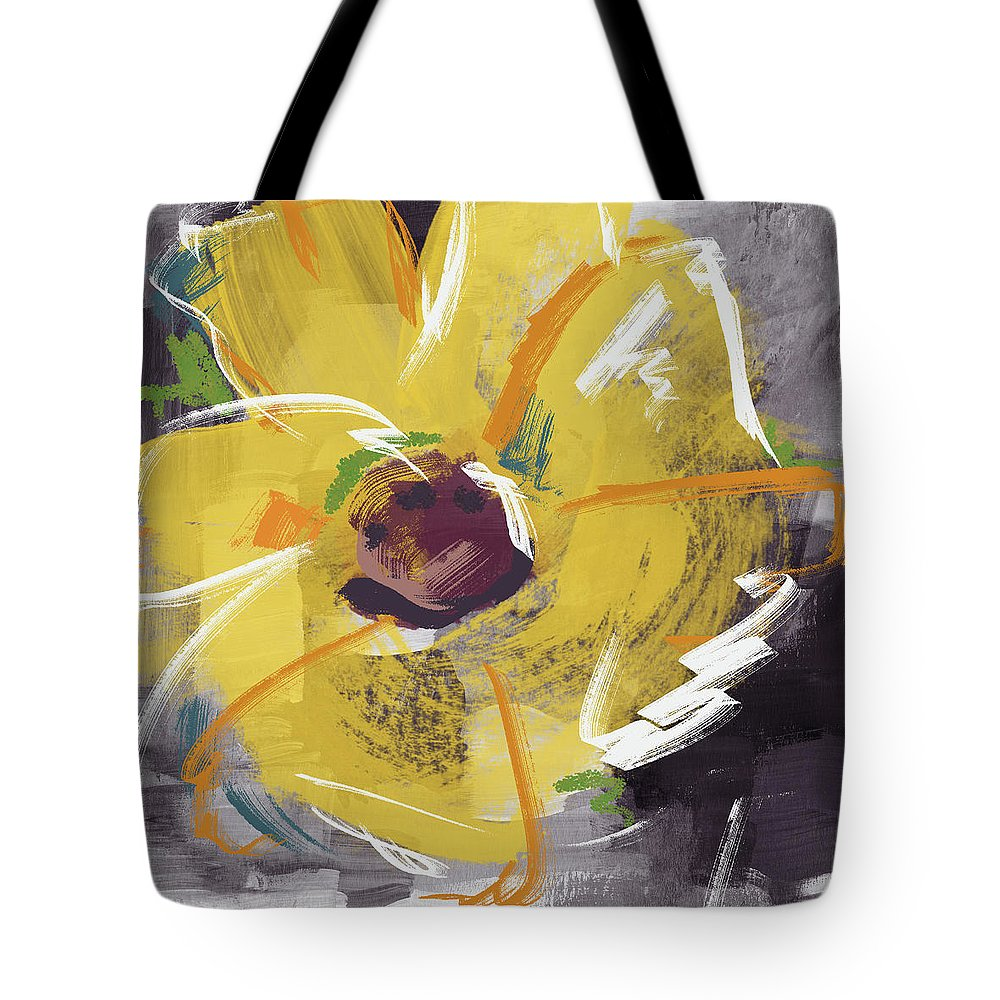 Sunflower Tote Bag featuring the mixed media Expressionist Sunflower- Art By Linda Woods by Linda Woods