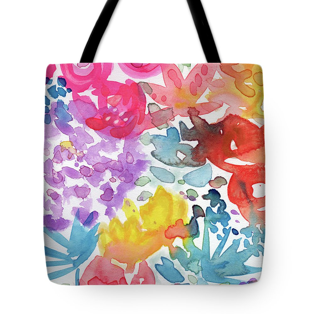 Flowers Tote Bag featuring the mixed media Expressionist Watercolor Garden- Art By Linda Woods by Linda Woods