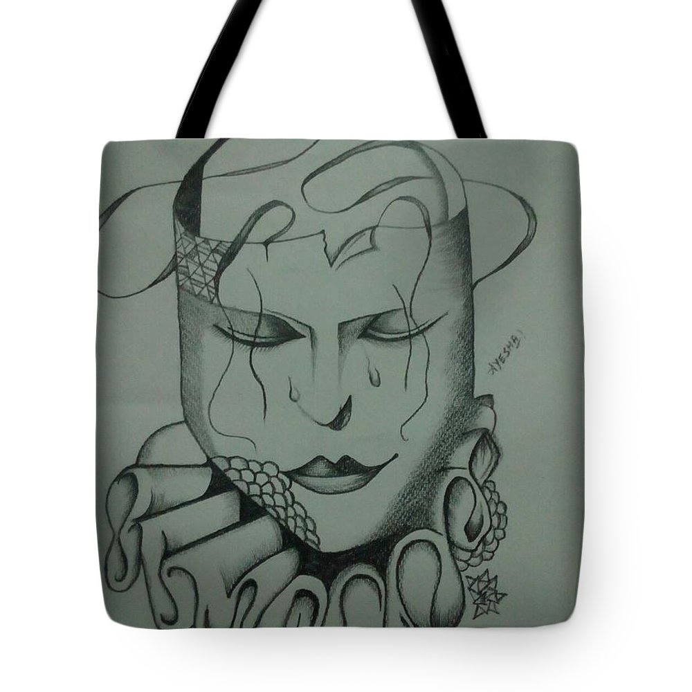 Realistic Face Tote Bag featuring the drawing Expressionless by Saad Dilawer