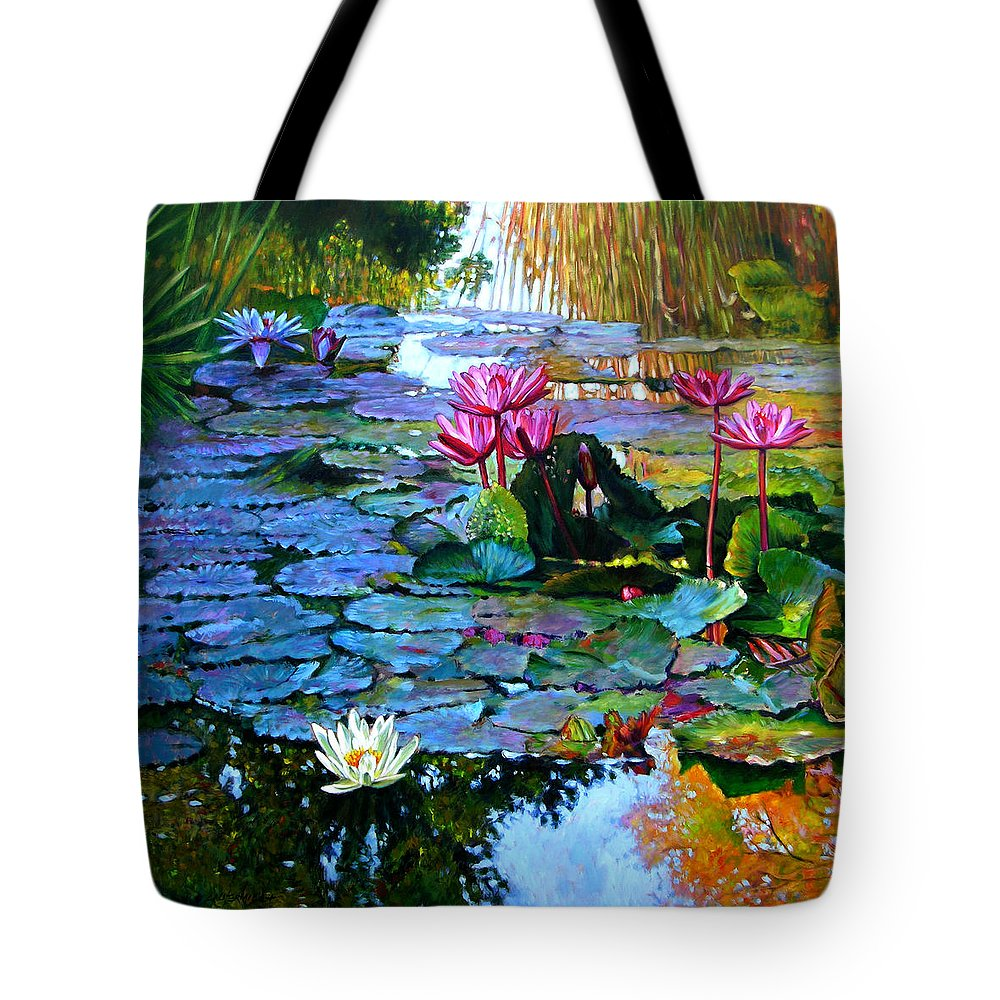 Landscape Tote Bag featuring the painting Expressions From The Garden by John Lautermilch