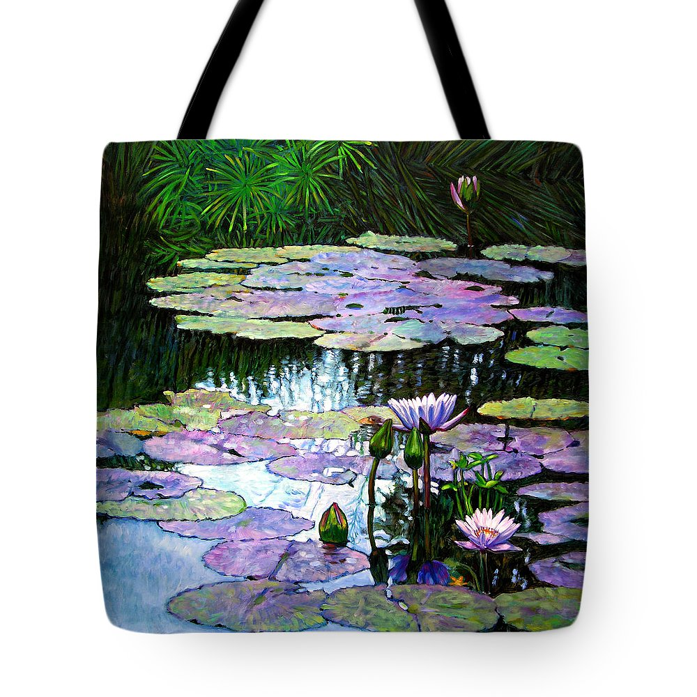Landscape Tote Bag featuring the painting Expressions Of Love And Peace by John Lautermilch