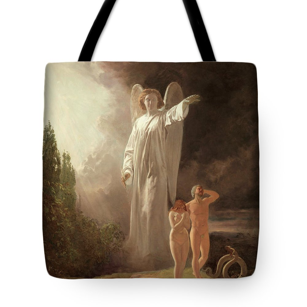 Expulsion Tote Bag featuring the painting Expulsion Of Adam And Eve by John Faed
