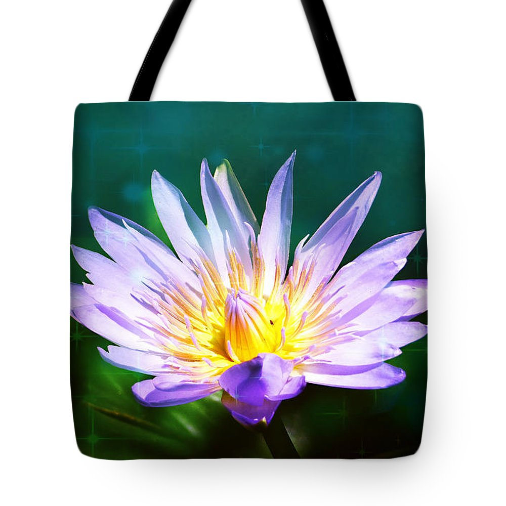 Exquisite Waterlily Tote Bag featuring the mixed media Exquisite Waterlily by Trudee Hunter